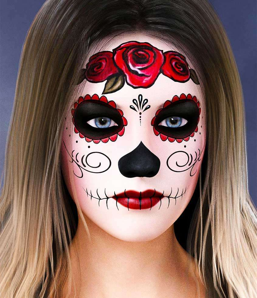 Idea di make up teschio messicano per ragazze per halloween